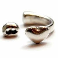 DQ metaal ring hart antiek zilver mf8539