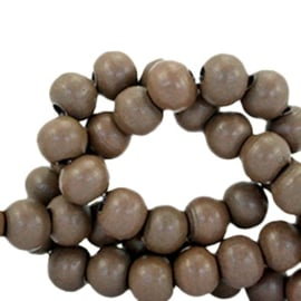 Houten kralen 6mm dark brown 38488 10 stuks
