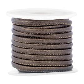 Gestikt imitatie leer 4x3mm dark brown metallic 35704