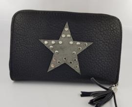 Portemonnee met ster en studs, zwart
