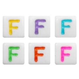 "Letterkraal ""F"" acryl vierkant 6x6mm multicolor-wit"