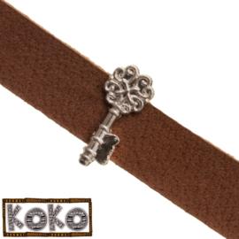 Leerschuiver  Koko key voor 10mm antiekzilver metaal FG531