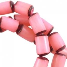 Buri zaden tube 13x8mm paparacha roze 22442