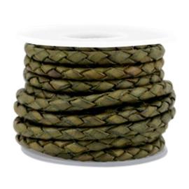 DQ Leer rond gevlochten 3mm medium olive green 38422