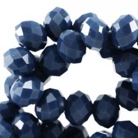 Top facet 6x4mm rondel royal blue 10 stuks 30956