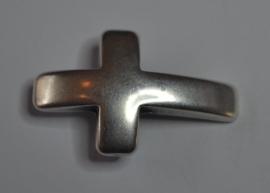 DQ leerschuiver kruis voor 10mm antiekzilver metaal