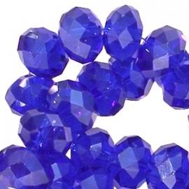 Top facet 4x3mm rondel cobalt blauw 10 stuks 17840