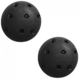 Cabochon Polaris 20mm 8 swarovski steentjes nero zwart 17178