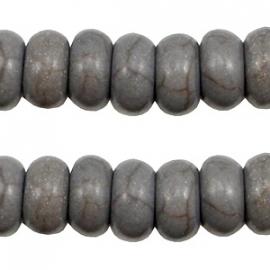 Turquoise Keramiek kralen disc 8mm donker grijs 37533