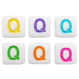 "Letterkraal ""Q"" acryl vierkant 6x6mm multicolor-wit"