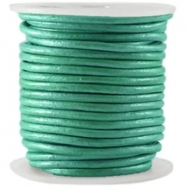 DQ Leer rond 3mm winter green metallic per 20cm