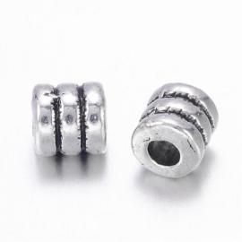 Metalen kralen buisje 4x4mm antiekzilver lf0334y