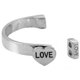 Armband metaal love antiek zilver 21082