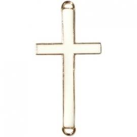 Kruis tussenzetsel 37x17mm wit-goud