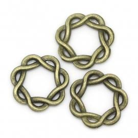 Tussenzetsel ring bewerkt 15mm antiekbrons metaal