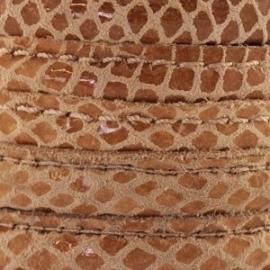 DQ Stitched leer 8x5mm beige bruin reptiel