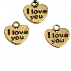 "Hartje ""I love you"" 12x11mm antiekgoud d18961"