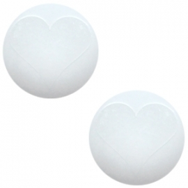 Cabochon Polaris 20mm hart matt bianco wit 17346