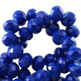 Facet 6x4mm rondel vintage cobalt blue 10 stuks 19306