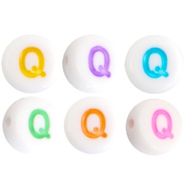 "Letterkraal ""Q"" acryl plat rond 7mm multicolor-wit"