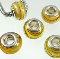 Pandora Style glaskraal 14x10mm beige-geel-wit