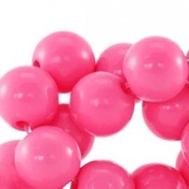 Acrylkraal 12mm rond glans fuchsia roze