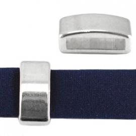 DQ leerschuiver 13x6mm antiekzilver metaal nikkelvrij 21021