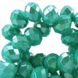 Diamond coated facetkraal 8x6mm light emerald green 19796