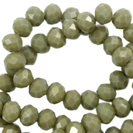 Top facet 4x3mm rondel dusty olive green pearl shine coating 65593