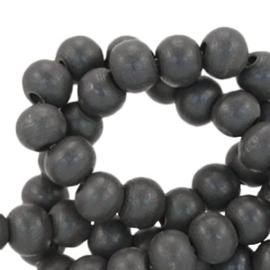 Houten kralen 6mm dark anthracite grey 38494 10 stuks