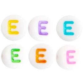 "Letterkraal ""E"" acryl plat rond 7mm multicolor-wit"