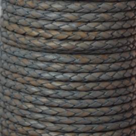 DQ Leer rond gevlochten 3mm vintage grijs beige