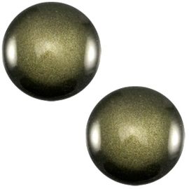 Cabochon Polaris 12mm soft tone shiny army green 33383