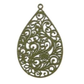 Bohemian bedel druppelvorm 30x19mm dark olive green 49057