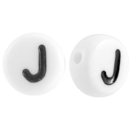 "Letterkraal ""J"" acryl plat rond 7mm wit-zwart"