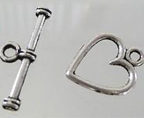 Kapittel sluiting hartje 14x11,5mm antiekzilver