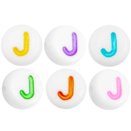 "Letterkraal ""J"" acryl plat rond 7mm multicolor-wit"