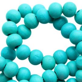 Houten kralen 8mm dark teal turquoise blue 36378 10 stuks