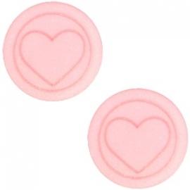Cabochon Polaris plat 12mm hart matt pastel coral pink 30616