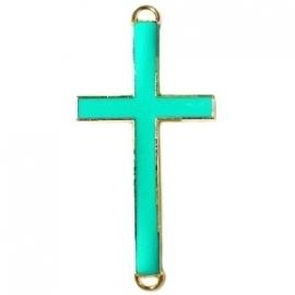 Kruis tussenzetsel 37x17mm bright groen-goud