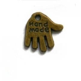 """Handje """"hand made"""" 13x12mm antiekbrons metaal"""