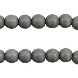 Turquoise Keramiek kralen rond 6mm donker grijs 37531