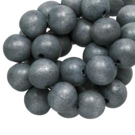 Houten kralen 8mm grey blue vintage look L481 10 stuks