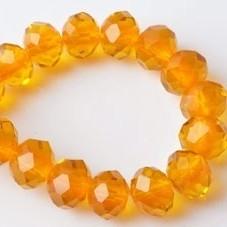 Glas facet 10x8mm rondel oranje