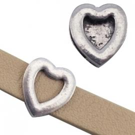 Leerschuiver hart voor 10mm antiekzilver metaal 23058