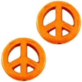 Turquoise Keramiek kralen peace 15mm oranje