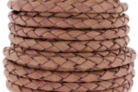 DQ Leer rond gevlochten 3mm vintage zacht roze 66628