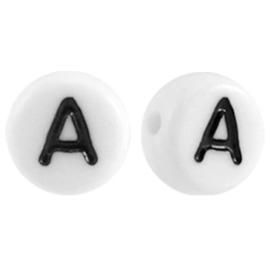 """Letterkraal """"A"""" acryl plat rond 7mm wit-zwart"""