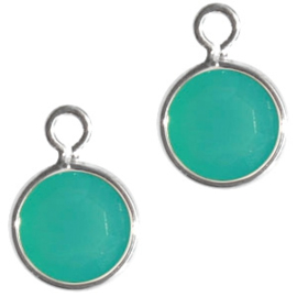 DQ facethanger zilver-licht turquoise blauw  10x7mm 23742