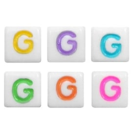 "Letterkraal ""G"" acryl vierkant 6x6mm multicolor-wit"